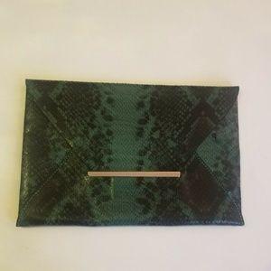 NWT BCBGMaxAzria Harlow Snakeskin Envelope Clutch